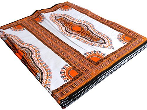 RaanPahMuang African Dashiki White Cotton Fabric for 1 Childrens Shirt Design, Orange on White by (Mens Dashiki)