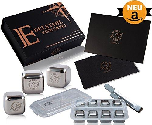 Le Flair Edelstahl Metall Eiswürfel mit unglaublicher Kühlleistung - 8 Whisky Steine