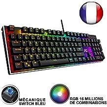 ACGAM Chroma Claviers Mécanique RGB Keyboard Française Layout Clavier Programmable Gaming Mechanical Keyboard avec 105 touches,RGB Rétro-éclairé illuminé, Anti-fantôme,Design ergonomique
