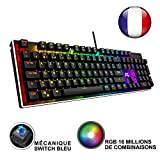ACGAM Chroma Claviers Mécanique RGB Keyboard Française Layout Clavier Programmable Gaming Mechanical Keyboard avec 105 touches,RGB Rétro-éclairé illuminé, Anti-fantôme,Design ergonomique