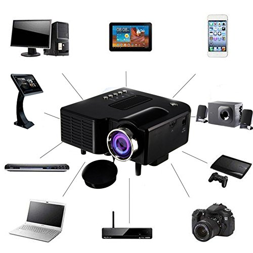 Ps3-spiel-karten 20 (1800 Lumens Beamer, Mini Beamer Tragbare Projektor Heimkino Film Video Beamer Unterstützt 1080P Multimedia HDMI USB TF VGA AV für Heimkino Spiele Film PC Laptop PS4 XBOX Smartphone. (Schwarz))