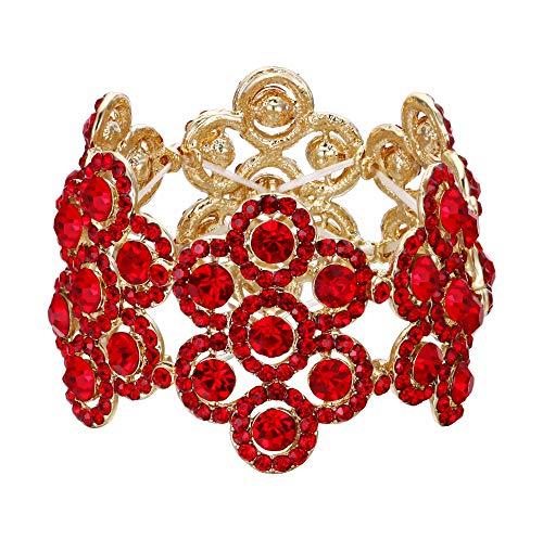EVER FAITH Damen Armband Österreich Kristall Hochzeit Braut Blumen Stretch-Armkette armreif Rot Gold-Ton