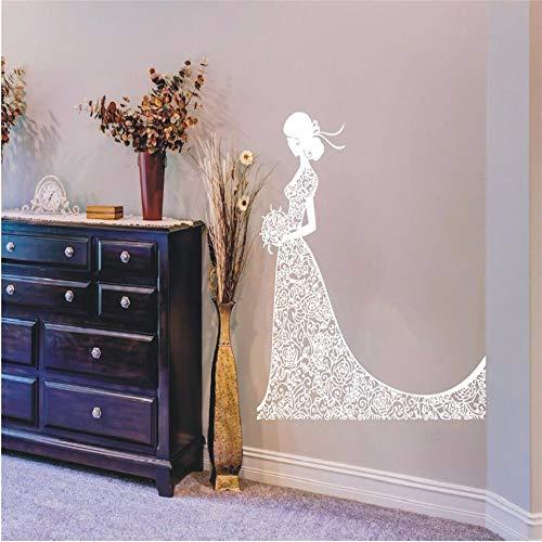 Wandtattoo Vinyl Schönheit Braut Aufkleber Mode Mädchen Im Hochzeitskleid Schönheitssalon Home House Art Decor Wandbild Poster Papier 100 * 107 cm (Ford Nabendeckel Embleme)