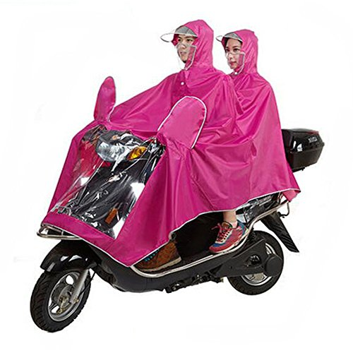 Haodasi Mask Type Double Poncho Hooded Imperméable Motocyclette Scooter Rainwear Rose