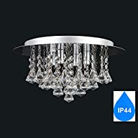 Amazon flush chandeliers ceiling lighting lighting aurolite nova modern bathroom ip44 crystal semi flush ceiling light polished chrome 4 light energy aloadofball Gallery
