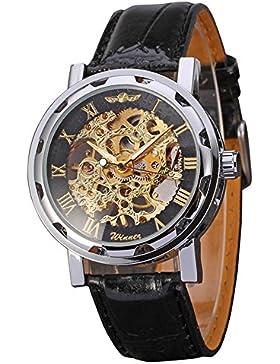 Gute Klassisch Herren Damen Unisex Gold Schwarz Skelett Analog Handaufzugwerk Armbanduhr
