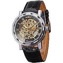 GuTe Reloj de pulsera mecánico, unisex, con diseño esqueleto de estilo steampunk, color dorado y negro