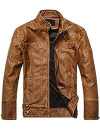 1b93a88d45d MyMei Men s Leather Jacket Stand Collar Biker Jacket Zipper Design Fleece  Coat