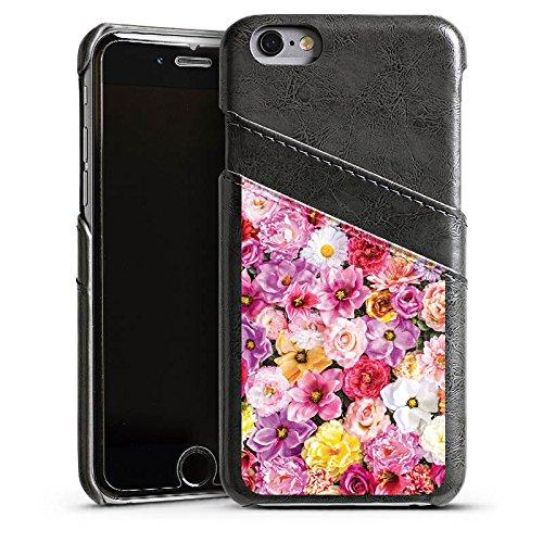Apple iPhone 5s Housse Étui Protection Coque Mer de fleurs Fleurs Fleurs Étui en cuir gris