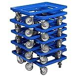 10 Stück Transportroller für Kisten 60 x 40 cm mit 4 Lenkrollen in blau