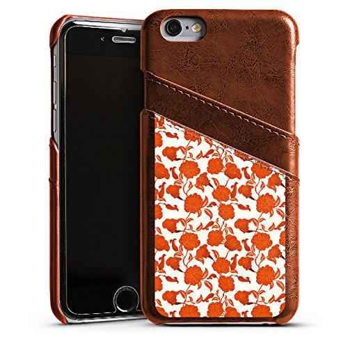 Apple iPhone 4 Housse Étui Silicone Coque Protection Fleur Feuilles Vrilles Étui en cuir marron
