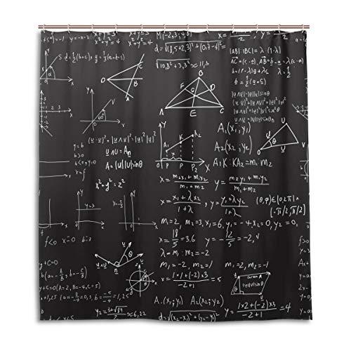 CPYang Duschvorhänge, mathematische Formeln, Ausbildung, wasserdicht, schimmelresistent, Badevorhang, Badezimmer, Wohndeko, 168 x 182 cm, mit 12 Haken -