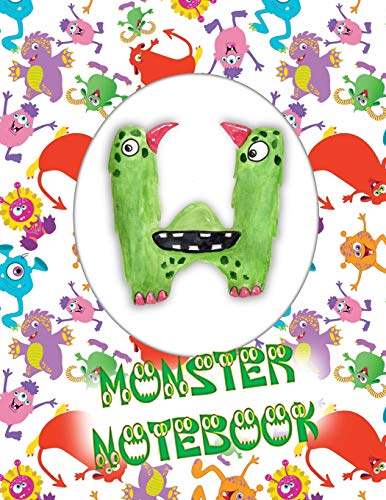 W Monster Notebook: Kids Monogrammed Journal and Doodle Book