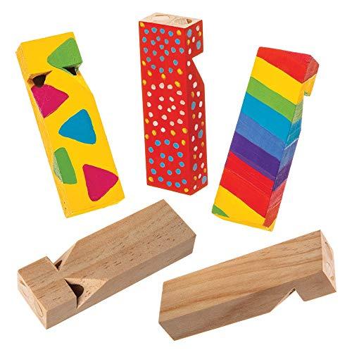 Baker Ross Pfeifen aus Holz (5er-Pack) Perfekt für Kinder-Goodie-Bags, Halloween-Partyartikel, Pinata-Füller oder Geburtstagsgeschenke für Jungen / Mädchen