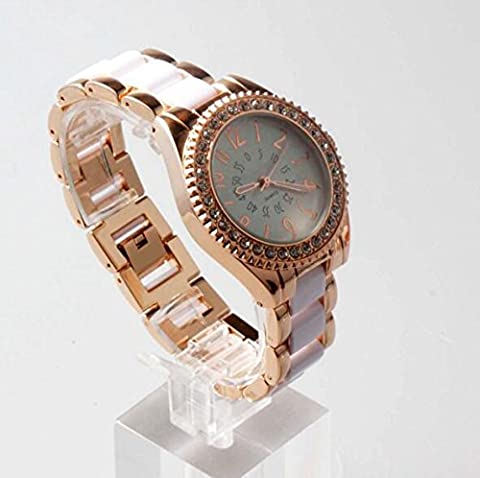XXFFH Uhr Casual Digital Mechanical Solar Goldene Wasserdichte Damen Faux Diamant Weiße Keramik Armband-Uhr , White