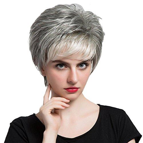 MagiDeal 12 Zoll Frauen kurze volle Perücken aus 100% Menschenhaar, Damen Echthaar Perücke, Cosplay Party Wig, Charmant und Modisch (Grau-Weiß)