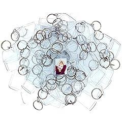 Idea Regalo - 100 Portachiavi Foto in Acrilico Trasparente - Portachiavi Vuota Traslucido 3,2 x 5,4 cm Portachiavi per Portafoglio con Inserti Immagini Personalizzate Portachiavi Plastica Adatto a Donne e Uomini