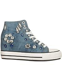 Woz? Sneakers con Zeppa Interna Blu, Tela, 40 Don