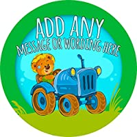 Farmer Tractor Sticker Labels Personalised Seals Ideal for Party Bags, Sweet Cones, Favours, Jars, Presentations Gift Boxes, Bottles, Crafts