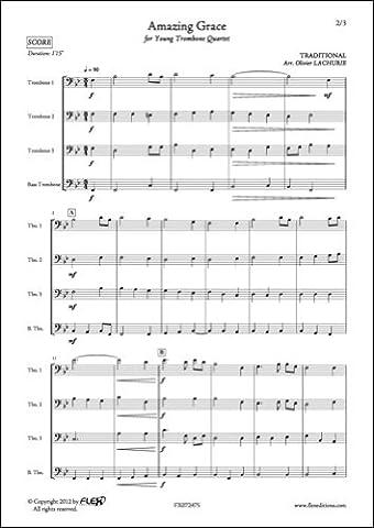 PARTITION CLASSIQUE - Amazing Grace - TRADITIONNEL - Quatuor de Trombones