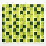 Mosaikfliesen Fliesen Mosaik Küche Bad WC Wohnbereich Fliesenspiegel Glasmosaik Quadrat Crystal Brick grün Mix 8mm #441