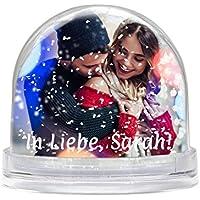 Schneekugel mit eigenem Foto gestalten (Glitzerkugelkugel mit individuellem Bild bedruckt; per Thermo-Sublimationsdruck, aus Acrylglas, ideal als Geschenk zum Valentinstag) (weiße Schneeflocken)