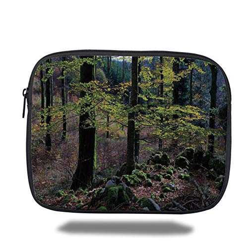 Tablet Bag for Ipad air 2/3/4/mini 9.7 inch,Forest,Natural Scenery Trees Autumn Season in Woods Wilderness Rural Growth Eco Photo,Green Light Pink,3D Print -