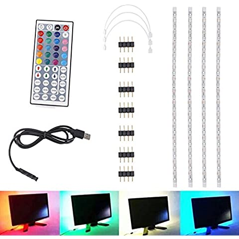 iEFiEL Kit 4 Tiras LED 5050 SMD Luces Adhesivas Lámparas Iluminosas Decorativas Fondo TV USB Cable 4*50CM 16 Colores 5 Modos de Iluminación
