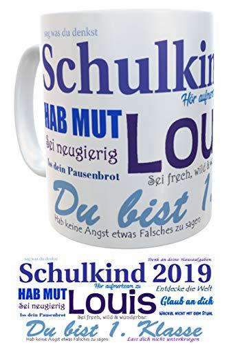 Kinderlampenland Namens-Tasse Schulkind 2019 zur Einschulung Jungen inkl. Geschenkverpackung