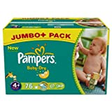 Pampers Baby Dry, Windeln Gr.4+ Maxi Plus 9-20kg Jumbo Plus 1x76