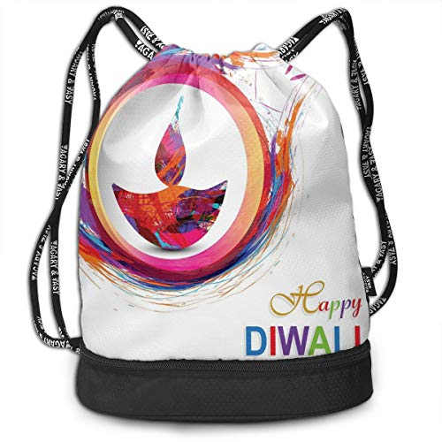 LULABE Printed Drawstring Backpacks Bags,Rainbow Themed Colored Modern Image of Diwali Celebration Candle Fire Print,Adjustable String Closure