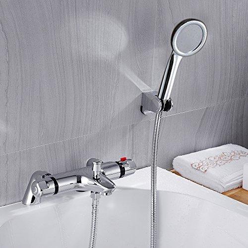Sccot Duscharmatur Thermostat, Chrom Badewanne Armatur Wasserhahn Thermostat Mischbatterie mit Handbrause, Wandhalterung für Bad Badezimmer