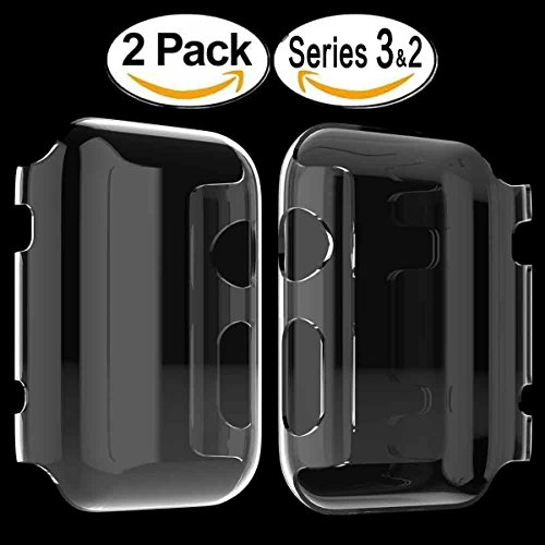 2 X Apple Watch Series 3 Funda, 4H Dureza Policarbonato Proteger Completamente Case Cover Funda Bumper [Ultra-delgado] [Shock-Absorción] [Anti-Arañazos] [Transparente] para Apple Watch Series 3 42mm