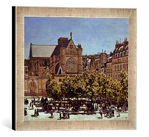 """Gerahmtes Bild von Claude Monet """"St.Germain l'Auxerrois"""", Kunstdruck im hochwertigen handgefertigten Bilder-Rahmen, 40x30 cm, Silber raya"""