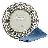 Sixtrees Cadre photo style antique vintage/shabby chic en métal argent orné de perles et de cristaux avec chiffon en microfibre, Métal, Silver, 4'x4' Helena