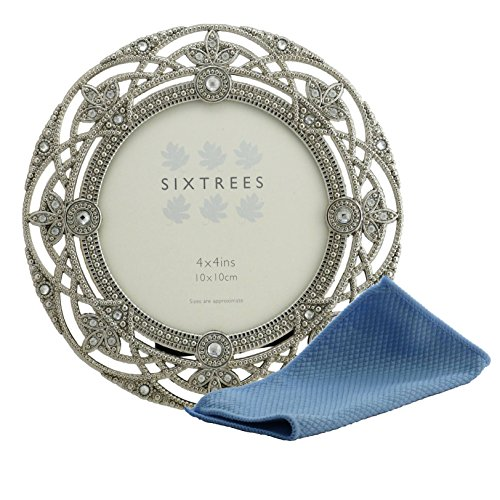 Sixtrees Bilderrahmen, antik, silberfarben, mit Perlen und Kristallen im Vintage-/Shabby-Chic-Stil, für Bilder in 12,7x 17,8 cm, 10,2 x 10,2cm, 10,2x 15,2 cm, metall, silber, 4