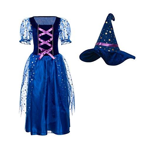 Kostümplanet® Hexenkostüm Kinder Mädchen Zauberer Kostüm komplett mit Hexenhut 152 (Mädchen Zauberin Kostüm)