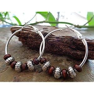 ❤ 3,5 CM CREOLEN & HOLZ ETHNO BOHO TRIBAL ❤ auffällige, einmalige Ohrringe mit Acryl und Holz