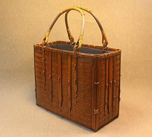 Littlefairy Reine Handarbeit Bambus Tasche Korb Tee Lagerung Feld Damen Handtasche Retro Holz-Handwerk