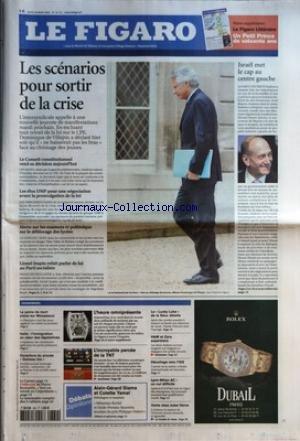 FIGARO (LE) [No 19177] du 30/03/2006 - LES SCENARIOS POUR SORTIR DE LA CRISE - LE CONSEIL CONSTITUTIONNEL REND SA DECISION AUJOURD'HUI - LES ELUS UMP POUR UNE NEGOCIATION AVANT LA PROMULGATION DE LA LOI - ALERTE SUR LES EXAMENS ET POLEMIQUE SUR LE DEBLOCAGE DES LYCEES - LIONEL JOSPIN REFAIT PARLER DE LUI AU PARTI SOCIALISTE ISRAEL MET LE CAP AU CENTRE GAUCHE L'ESSENTIEL - LA PEINE DE MORT PLANE SUR MOUSSAOUI - ITALIE - L'IMMIGRATION AU COEUR DES LEGISLATIVES - OUVERTURE DU PRO