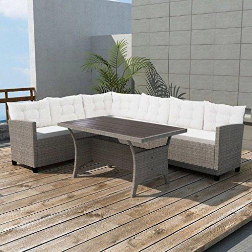 Tidyard- Garten Sofagarnitur 12-TLG. Gartenmöbel Set Poly Rattan Gartenlounge Garten Terrasse Sitzgruppe Sitzgarnitur aus 2 Sofas, 1 Tisch und Kissens