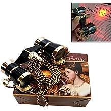 HQRP Prismáticos de ópera / Binocular de Teatro 3 x 25 Negro con cadena dorada y luz roja de lectura