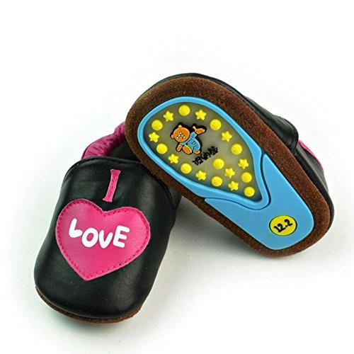 leap frog  Cartoon Leather Sneaker, Baby Mädchen Lauflernschuhe Black Love