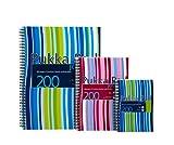 Pukka Pad - Cuaderno de espiral doble de tapa dura (3 unidades, A5, 250 hojas microperforadas, 80 g/m², raya de 8 mm, incluye separadores), diseño de rayas, color rosa y azul, azul y verde (surtido)