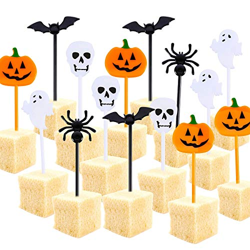 een Picks Halloween Cupcake Topper Picks Ghost Decor for Kids Birthday Party Themed Party (100) ()