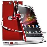 ( Red ) Sony Xperia Z Ultra XL39h Premium Stylish cubierta de la caja dura de la piel Shell Con LCD Protector de pantalla y Aluminio En Ear estéreo de manos libres de auriculares con construido en el botón Mic y On-Off por ONX3