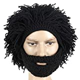 CoolChange Afro Look Strikmütze / Sturmmaske mit Bart zum Anköpfen