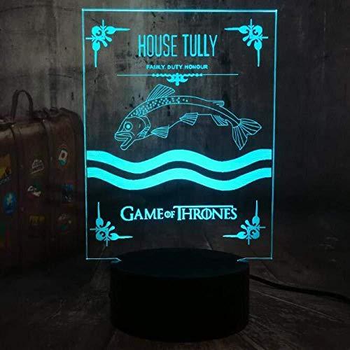 Luces Nocturnas 3D Lámpara De Mesa Lyd Juego De Poder Insignia De Canción De Hielo Y Fuego Casa Targaryen Stark Lannister Aficionado Al Cine Decorativo Regalo De Navidad: Amazon.es: Iluminación