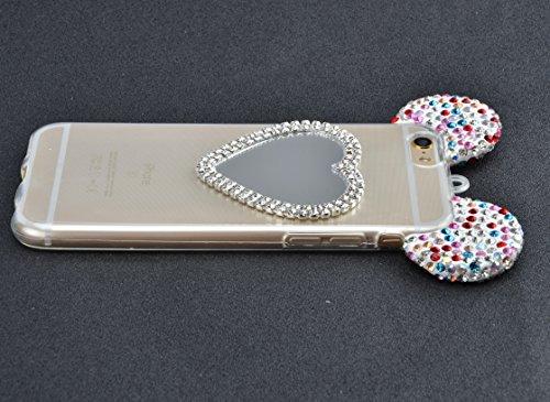 iPhone 7 Plus Hülle, Vandot Glitzer Glänzend Transparent Case für iPhone 7 Plus Handmade Schutzhülle TPU Silikon Diamant Bling Shining Glitter Weich Zurück Cover Telefonkasten Maus Mouse Ohr Ear Ultra Heart Bunt