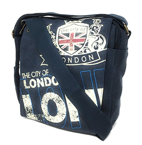 23b47b9014 Robin Ruth The City of LONDON Navy Canvas Shoulder messanger Bag